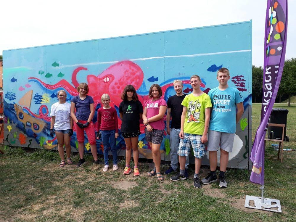 Graffiti-Aktion beim Kulturrucksack